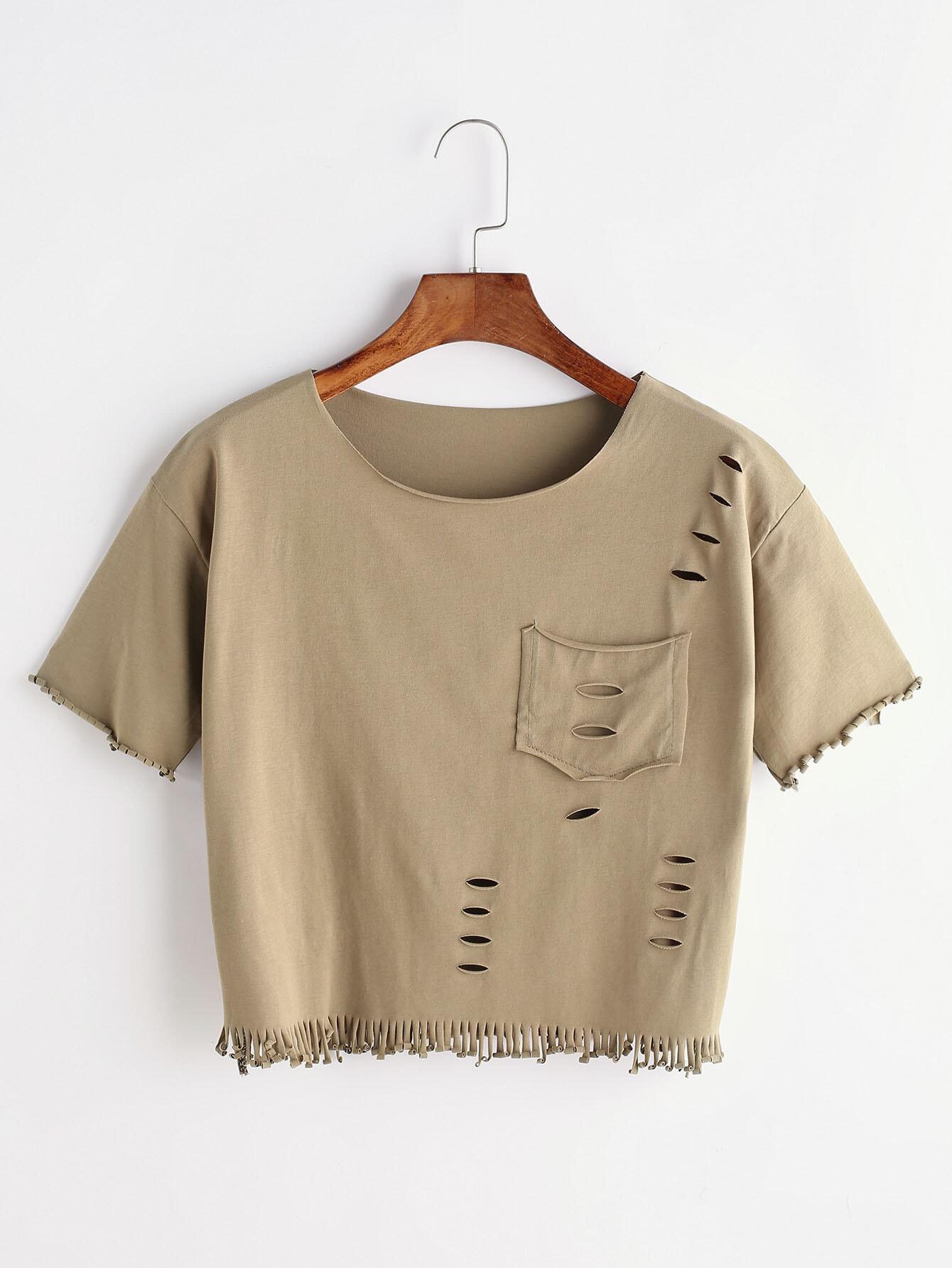 ripped fringe t shirt with pocketfor women romwe. Black Bedroom Furniture Sets. Home Design Ideas