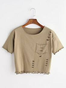 Ripped Fringe T-shirt With Pocket