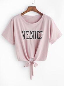 T-shirt noeud à lettres roses