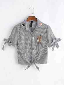 Vertical Striped Bear Embroidered Knot Front Blouse
