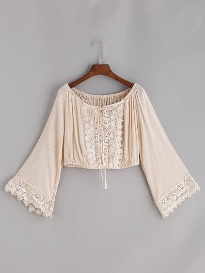 Apricot Crochet Lace Trim Tie Boat Neck Top