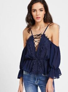 Navy Tie Front Crochet Lace Bell Sleeve Blouse