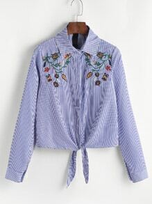 Blue Vertical Striped Embroidered Tie Hem Blouse