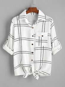 White Grid Plaid Tie Hem Roll Sleeve Shirt