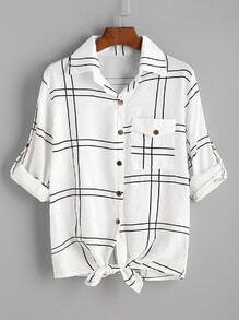 Blusa de cuadros con nudo en la parte delantera - blanco