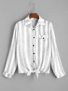 Contrast Striped Knot Front Shirt
