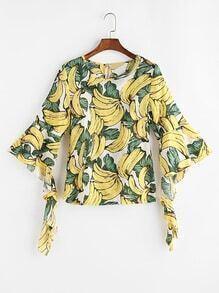 Top con estampado de plátano de mangas acampanadas y espalda con abertura