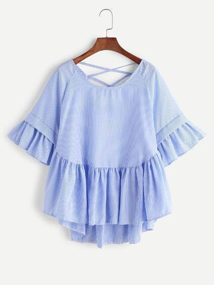 Striped Criss Cross Frill Hem High Low Blouse