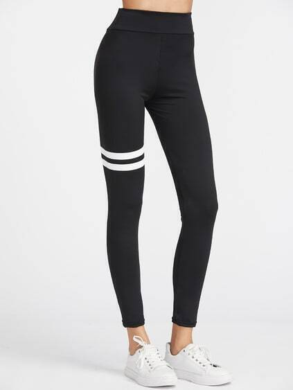 Black Striped Sport Leggings