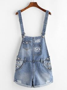 Number And Letter Print Denim Suspender Shorts