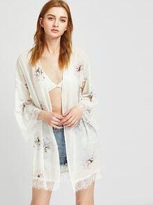 Lace Trim Florals Chiffon Kimono With Belt