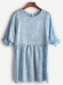 Vestido con estampado de paisley de mangas farol - azul