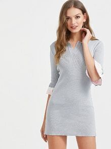 Grey Bell Sleeve Lapel Sweater Dress