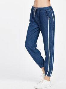 Blue Striped Denim Drawstring Waist Jogger Pants