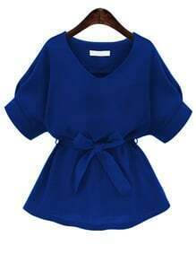 Royal Blue V Neck Self Tie Blouse