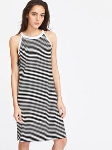 Black And White Striped Halter Dress