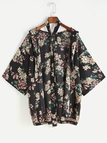 Black Floral Hooded Kimono With Belt