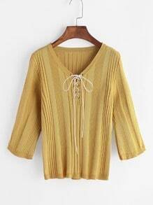 Yellow V Neck Lace Up Front Knitted T-shirt