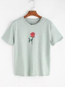 Green Rose Print T-shirt