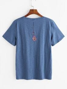 Camiseta de espalda con bordado de flor - azul