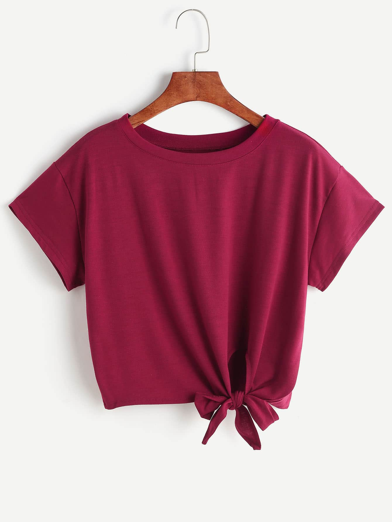 Burgundy Tie Side Crop T Shirtfor Women Romwe