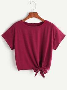Burgundy Tie Side Crop T-shirt