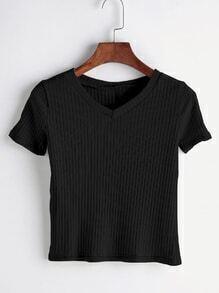 T-shirt tricoté noir avec V col