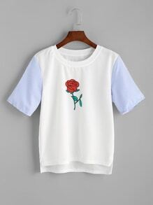White Rose Print Striped Sleeve High Low T-shirt