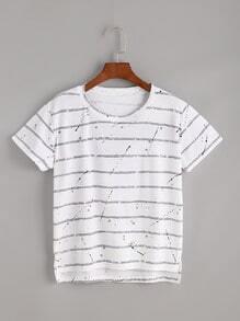 Camiseta asimétrica con estampado de rayas - blanco