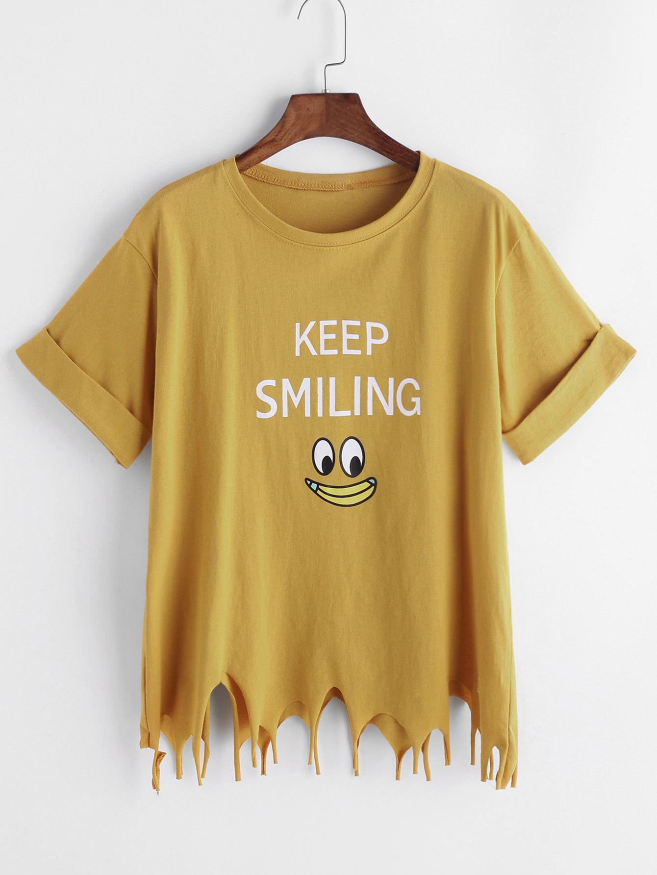 Yellow Cartoon Print Asymmetric Raw Hem Cuffed T-shirt