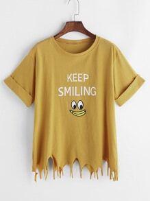 chemise élimée Asymétrique avec la bande dessinée imprimée - jaune
