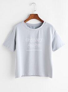 Camiseta con estampado de letra - azul