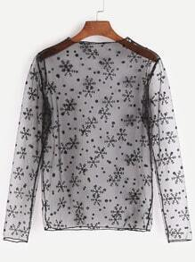 Snowflake Print Sheer Mesh Top
