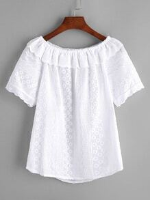 White Ruffle Front Boat Neck Blouse