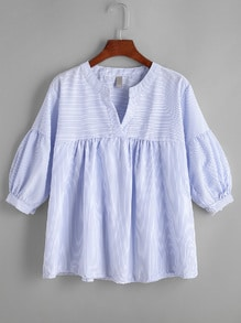 Pinstriped Pleated Hem V Neck Blouse