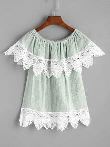 Boat Neck Contrast Lace Trim Layered Blouse