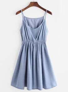 Spaghetti Strap Elastic Waist A-Line Denim Dress