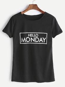 Camiseta con estampado de letra casual - negro