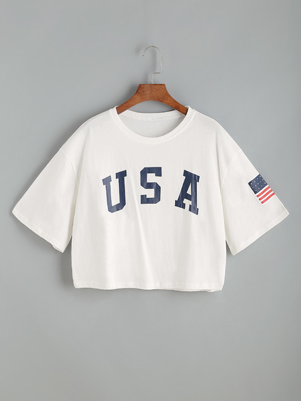 White Letter Print Drop Shoulder Crop T-shirt