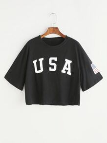 Black Letter Print Drop Shoulder Crop T-shirt