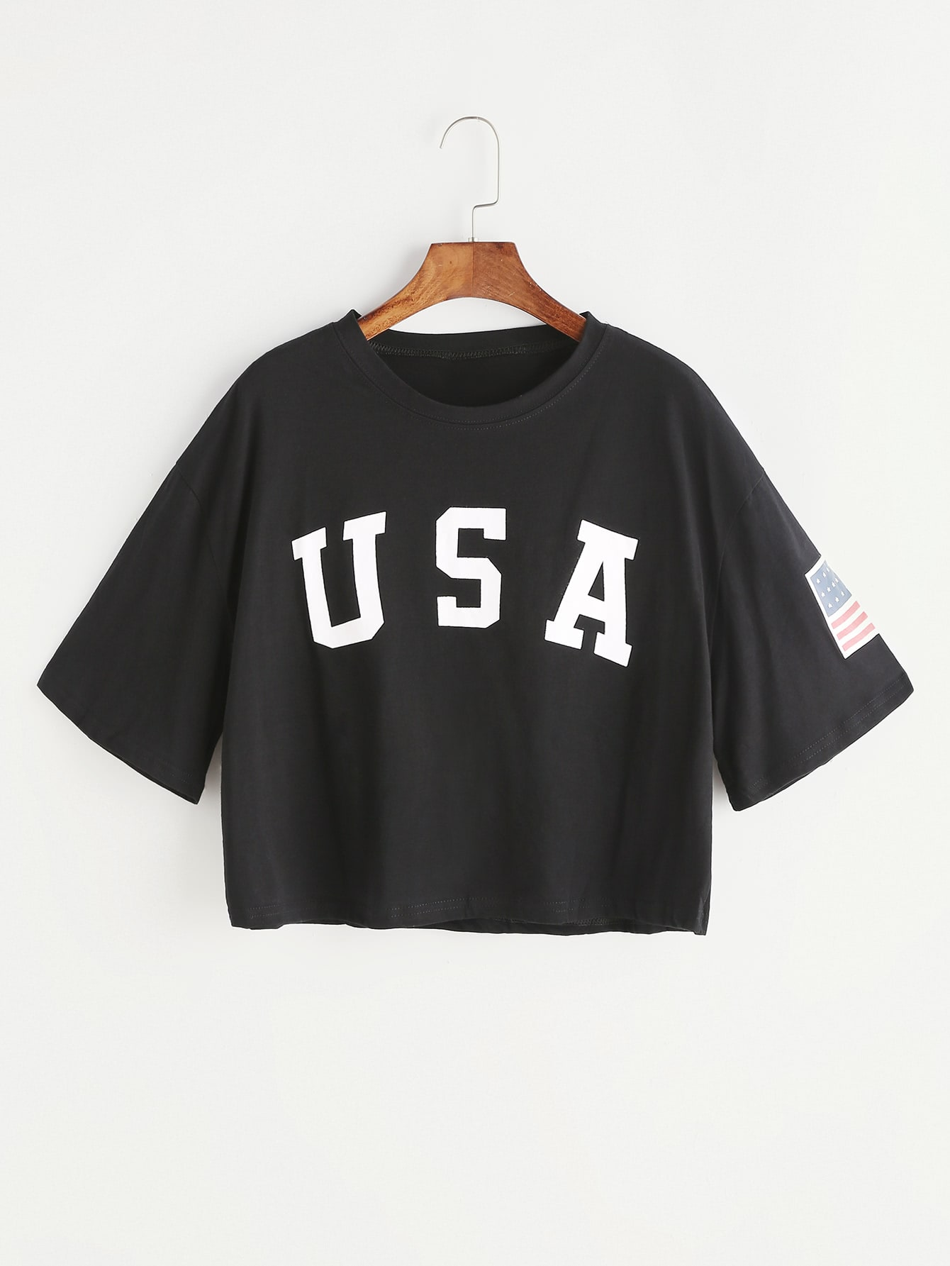 Black Letter Print Drop Shoulder Crop T-shirt