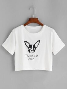 Camiseta corta con estampado de letra y perro