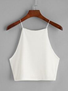 White Crop Cami Top
