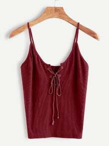 Burgundy Eyelet Lace Up Front Ribbed Knit Cami Top