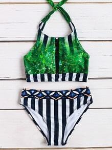 Set bikini de halter con estampado de hoja con detalle de rayas - verde