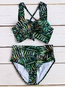 Set bikini con estampado tropical y espalda cruzada - verde