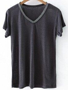 Camiseta con cuello en V y ribete con abalorios - gris