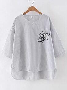 Blusa asimétrica de rayas con bordado de rayas verticales