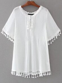 White Lace Trim Fringe Detail Dress