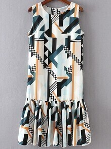 Multicolor Geometric Print Ruffle Hem Dress With Zipper